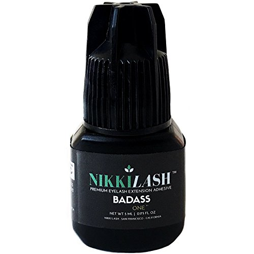 BADASS Strongest Bond Latex-Free Eyelash Extension Glue By NIKKILASH - Extra Strength Bonding Ingredients Found In Medical-Grade Adhesives - Strong Hold Up To 7 Weeks & Fast Dry Time 2-3 Seconds - 5ML