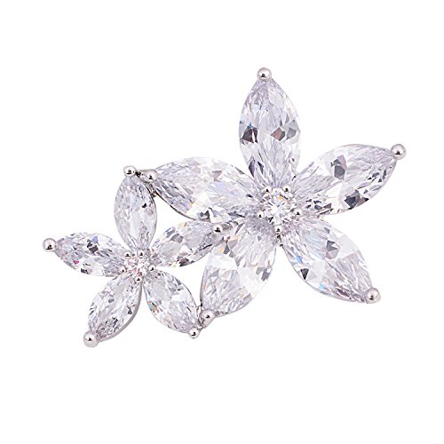 Bow Pave Pin (OBONNIE Silver Tone Micro Pave Cubic Zirconia Clover Camellia Love Knot Bow Star Daisy Flower Brooch Pin (Double Flower))