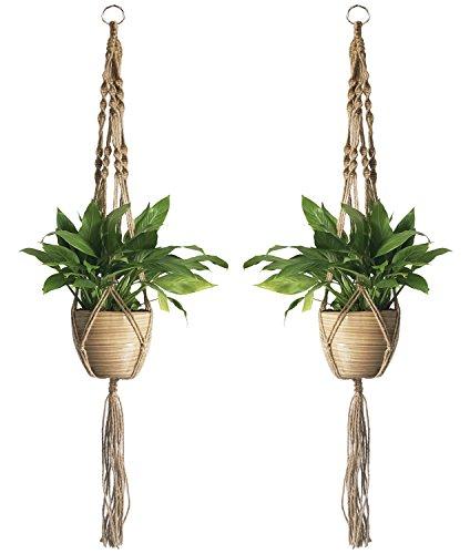 YHmall 2PCS Macrame Plant Hanger Indoor Outdoor Hanging Planter Basket Hanging Plant Holders Rope Jute 4 Legs 39 (Hanging Basket Holder)
