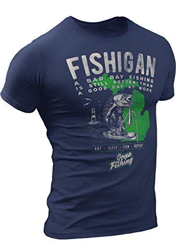 FISHIGAN T-Shirt Gift idea for Michigan Fisherman by Detroit Rebels Brand Navy Mens