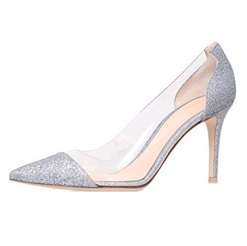 Stiletto Edefs Taille Transparent À Aiguille Glitter Sandales Femme Chaussure Talon Enfiler Escarpins Soirée wTTrx6Xq