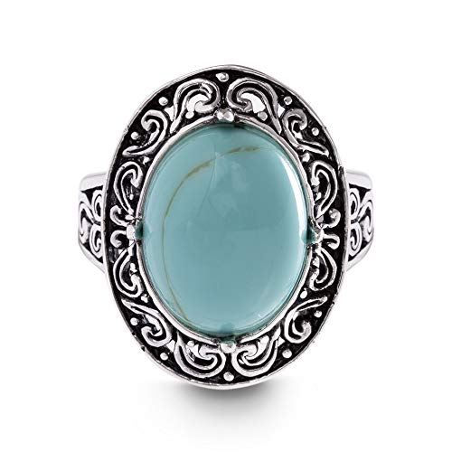 (Willowbird Oxidized Sterling Silver Simulated Turquoise Oval Center Scrollwork Ring for Women (Size 8))