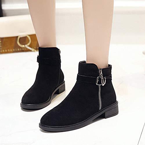 Con Zipper Botas 4 Cuña Bazhahei Mujer Boots Pelo Gamuza Zapatos Ante Para Zapatillas Bola Cabeza Punta De Pure Botines Black Color Redonda 1wHqnPYC