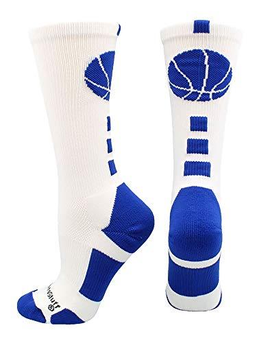 MadSportsStuff Basketball Logo Athletic Crew Socks, Medium - White/Royal (Best Sports Team Logos)
