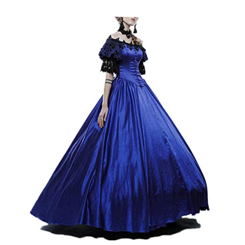 LY-VV Womens Marie Antoinette Rococo Ball Gown Gothic Victorian Dress Costume (Navy, XXXL) ()