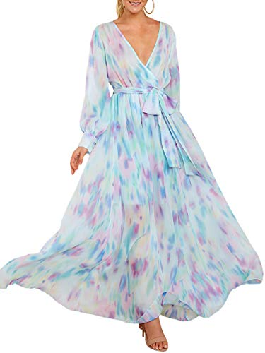 Ybenlow Womens Boho Floral Chiffon Deep V Neck Wrap Long Sleeve Flowy Party Maxi Dresses with Belt Light Blue