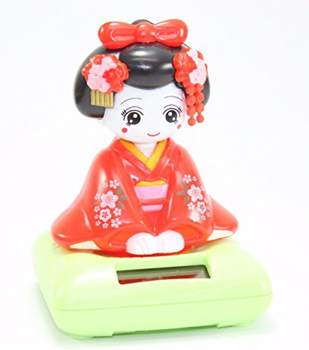 Red Sitting Geisha Green Base Solar Powered Japanese Kimono Girl Car Bobble Head Doll Toy Home Decor Figurine Birthday Blessing Gift US Seller ()