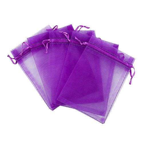 Anleolife Large Purple Organza Bags Wedding Favors 5.5x8.6'' COOKIES Candy Gift Bags Lavender Makeup Products Packages 60pcs (purple)