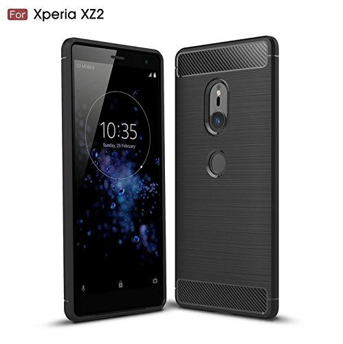 Sony Xperia XZ2 Case, TopACE Ultra Thin Carbon Fiber Scratch Resistant Shock Absorption Soft TPU Protective Cover for Sony Xperia XZ2 (Black)