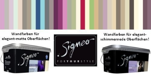 Signeo 2,5 L. Bunte Wandfarbe, MINT, Mintgrün seidenglänzend, elegant-schimmernde Oberflächen, Innenfarbe