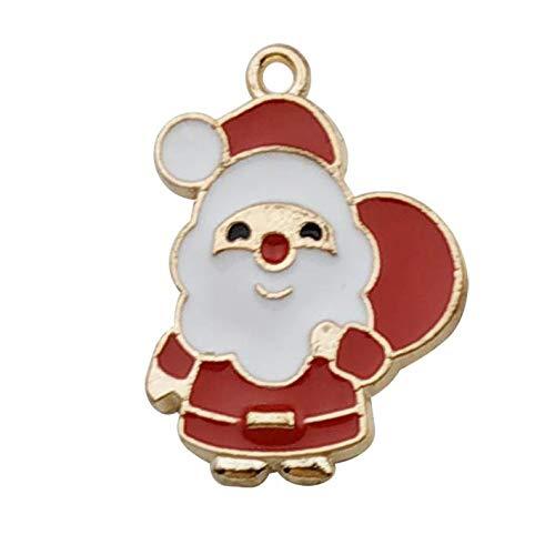dise/ño de Pap/á Noel bricolaje accesorios WM346 para bisuter/ía collar pulsera pendientes de tobillo Lote de 60 abalorios de /árbol de Navidad ba/ñados en oro esmaltado copo de nieve