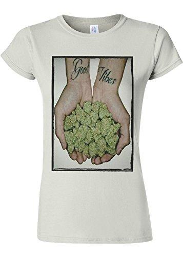 島保証金迷惑Good Vibes Weed Cannabis Drug High Novelty White Women T Shirt Top-M