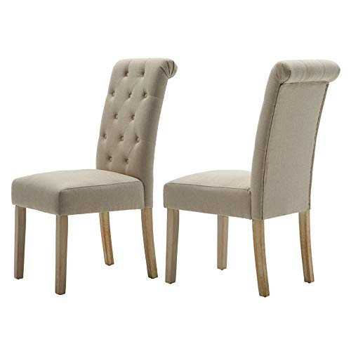 LSSBOUGHT Button-Tufted Classic Accent Dining Chairs with Solid Wood Legs, Set of 2 (Tan)