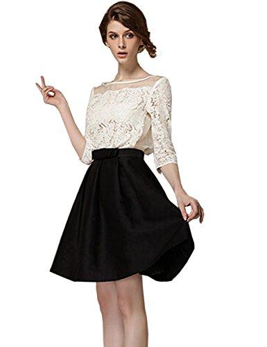 (Only Faith Womens Fashion High Waist A-line Plain Pleated Flared Mini Skirt (XL))