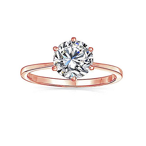 Sinlifu Rose Gold plating Round Magic Green Quartz Solitaire Engagement Ring Jewelry for Mother (Mystic+Rose plating, 8)