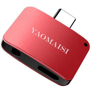 Q15 2in1 Portable Mini Type-C to Type-C Charging Type-C to 3.5mm Earphone Audio Adapter - Chargers & Cables Adapters - (Red) - 1 Q15 Type-C 2in1 Audio Converter -