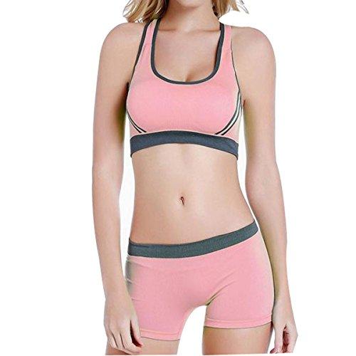 Hsnnyqt Sujetador Deportivo Mujer Ropa Interior S M L Clásico Aerobic De Secado Rápido Sin Problemas Apretar El Sujetador Pink