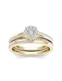 Pretty Jewellery 10k Yellow Gold Over Sterling Silver Diamond Cluster Engagement Wedding Bridal Ring Set