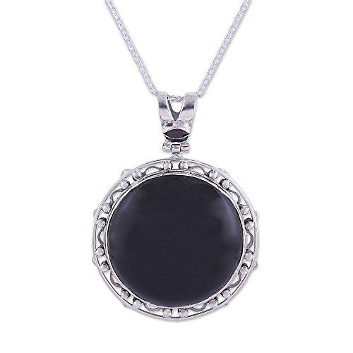 "NOVICA Multi-Gem Onyx .925 Sterling Silver Pendant Necklace, 16.75"""