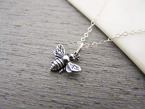 3D Bumblebee Tiny Sterling Silver Bee Necklace ()