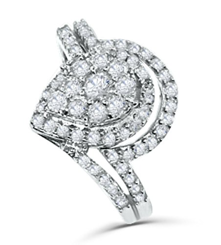 Midwest Jewellery 10K White Gold Pear Shaped Diamond Engagement Ring Set 3/4ctw (i2/i3, i/j) (Best Setting For A Pear Shaped Diamond)