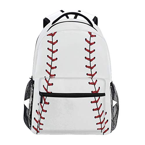 Red Stitching Baseball Laptop Backpack, White Ball Water Resistant College Students Bookbags Elementary School Bags Travel Computer Notebooks Daypack Bookbag for Men Women Kids Boys Girls -