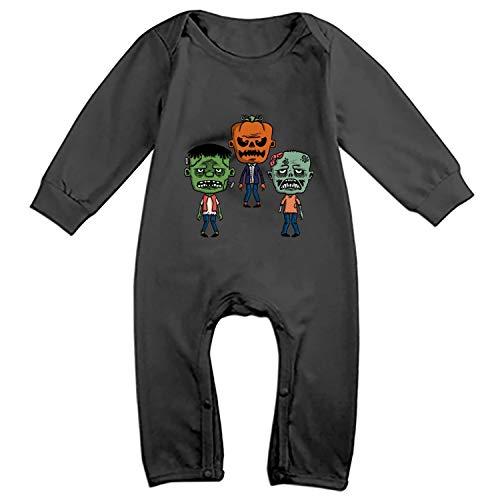 Faneilme Toddler Baby Bodysuit Long-Sleeve Onesie Cartoon Funny Zombies Print Rompers, Cotton Jumpsuit Summer Pajamas - Zombies Funny Sleeve Long