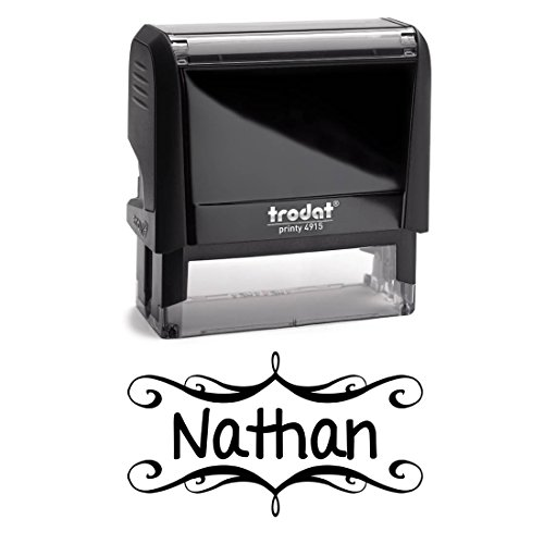 Personalized Kids Name Self Inking Stamp, Decorative Stamp, Custom Font, Customized with Name, Rubber Stamp, Naming Stamp, Children's Signature Stamper, School Book Label Child Name, Stamp (Black) by Pixie Perfect Stamps