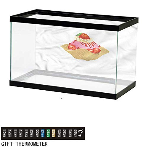 bybyhome Fish Tank Backdrop Ice Cream,Waffle Cone Delicious,Aquarium Background,24