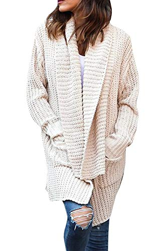ZESICA Womens Long Sleeve Open Front Cable Knit Loose Chunky Cardigan Sweater Coat Outwear with Pockets -