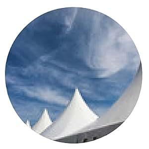 alfombrilla de ratón fila de eventos y tiendas de campaña del partido blanco contra el cielo azul - ronda - 20cm