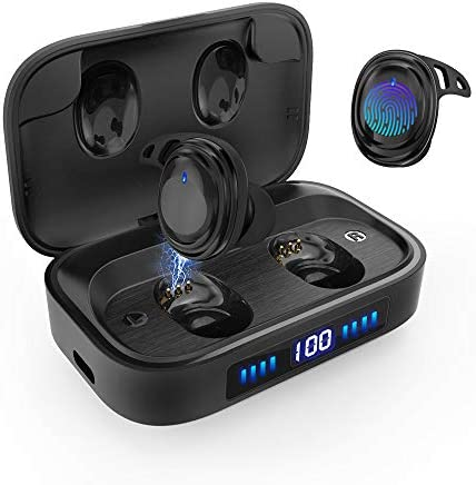 Wireless Earbuds Bluetooth 5.0 Headphones, IPX7 Waterproof Sport Earbuds, Touch Control, 75 Hrs Playtime 2000 mAh LED Display Charging Case As Power Bank , HD Stereo Built-in Mic in-Ear Earphones
