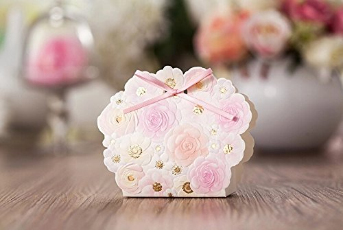 Joinwin® 50pcs Romantic Wedding Favors And Gifts Bag Elegant White Luxury Decoration Flower Laser Cut Party Sweet Paper Candy Box