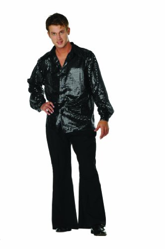 [Disco Inferno Sequin Shirt Black Large] (Cool Couples Halloween Costumes)