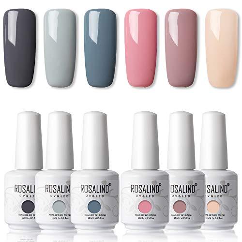 🥇 ROSALIND 15ml Gel de uñas semipermanente con gel de esmalte de uñas nude 6pcs