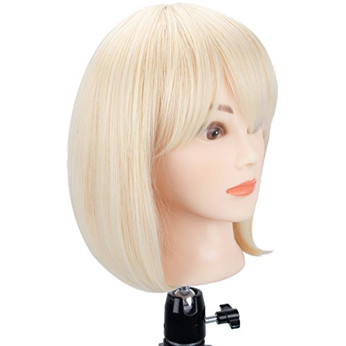 GEX Blonde Bob Straight Short Synthetic Fiber Full Wigs with Bangs for Women Girls Natural as Real Hair Daily Party Wigs