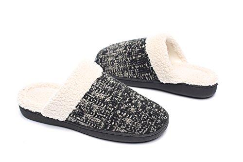 Ofoot Women's Knit Slippers,Warm Velvet Fleece Lined, Comfy Memory Foam,Anti-Slip Hard Sole,Indoor/Outdoor (House Sherpa)