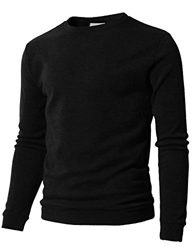 H2H Mens Casual Long Sleeve Henley Pullover Sweater Of Various Colors Black US L/Asia XL (KMTTL0450) -