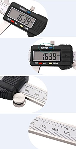Electronic Digital Caliper 0-6 inch/150mm Vernier Extra Large LCD Screen, Stainless Steel Body, Conversion Millimeters Inches Precision Measurement Tool Depth Inside Step Outside Gauge Auto Off, Case by CaliFra (Image #7)