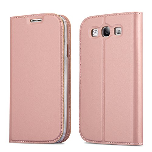 Cadorabo Book Case Works with Samsung Galaxy S3 / S3 NEO in Classy ROSÉ Gold - with Magnetic Closure, Stand Function and Card Slot - Wallet Etui Cover Pouch PU Leather Flip