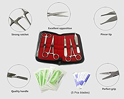 10 Pcs Advanced Biology Lab Anatomy Medical Student Dissecting Dissection Kit Set with Scalpel Knife Handle Blades