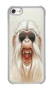 linJUN FENGApple iphone 4/4s Case,WENJORS Adorable The Great White Angry Monkey Hard Case Protective Shell Cell Phone Cover For Apple iphone 4/4s - PC Transparent