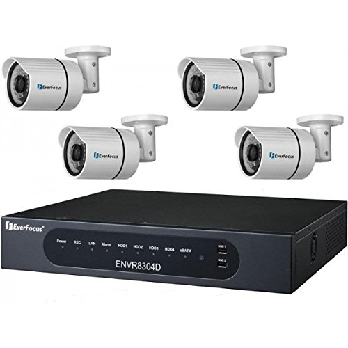 Everfocus IPKITDZ 8 Channel NVR, 2TB with 4 x 2 Megapixel Outdoor IR Mini Bullet Network Cameras Kit