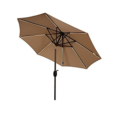 Ulax Furniture 9 Ft Solar Powered LED Lights Patio Umbrella Aluminum Outdoor Market Umbrella with Tilt and Crank system, Air Vent, 100% Polyester, Beige - Deluxe Solar LED Patio Umbrella provides plenty of shade on summer days while by simply pushing the switch button, it gives you a cozy night ambience with lightings to your outdoor space Strong and Stable: sturdy aluminum pole in bronze finish; 8 square-shaped steel ribs provide extra sturdiness; High quality fitting parts make the umbrella much stronger and durable. Single wind vent allows air to freely escape in windy areas Solar powered LED lights, automatic charging in the sunlight and a full day's charging will provide sufficient power for a whole night. Also chargeable by USB - shades-parasols, patio-furniture, patio - 41zJ2aH5WML. SS400  -