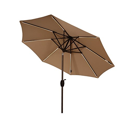 Ulax Furniture 9 Ft Solar Powered LED Lights Patio Umbrella Aluminum Outdoor Market Umbrella with Tilt and Crank system, Air Vent, 100% Polyester, Beige (Led Outdoor Furniture)