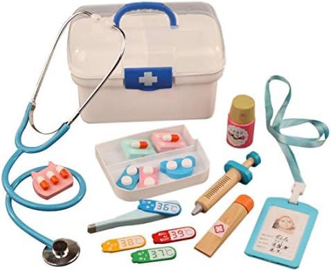 LVPY Arztkoffer Spielzeug, 16-TLG Kinder Doktorkoffer Spielzeug aus Holz Arztkoffer Doktor Spielset Rollenspiel Lernspielzeug Geschenke für Mädchen und Jungen