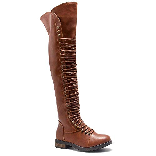 Herstyle Kristrrina Women Military Lace Up Thigh High Combat Boots Brown 8.0