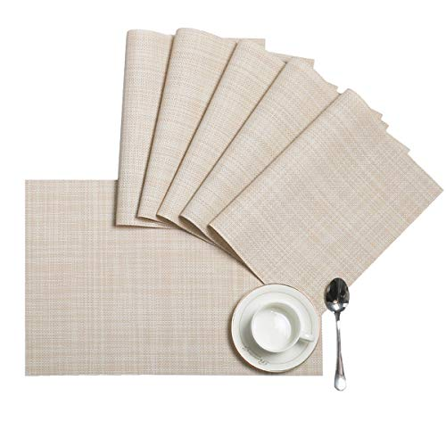 HEBE Placemats, Heat-Resistant Placemats Stain Resistant Anti-Skid Washable PVC Table Mats Woven Vinyl Placemats, Set of 6, Beige (Placemats Beige)