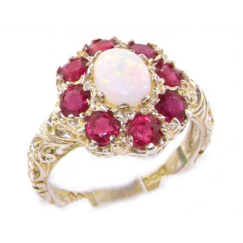 925 Sterling Silver Natural Opal and Ruby Womens Cluster Ring - Sizes (Ruby Antique Style Ring)