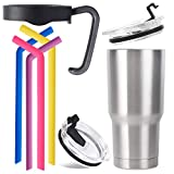 Stainless Steel Tumbler (20 oz.) w/ 4 Reusable Silicone Straws 2 Flip-Top Lids, Splash Proof Drink Spout | Double Walled Vacuum Insulated Hot & Cold Travel Mug | Sports, Gym, Fitness (Silver)